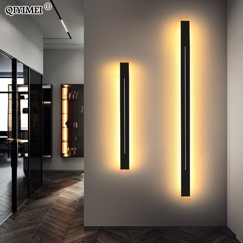Modern Led Wall Lamps For Stair Living Bedroom Gold Light Black Iron Fixture Wandlamp Indoor Lighting Deco AC85-260V