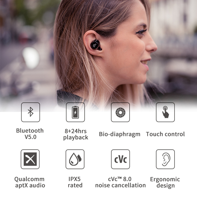 EDIFIER TWS1 TWS Earbuds Bluetooth v5.0 aptX Touch control IPX5 rated Ergonomic design wireless earphones Bluetooth earphone 2