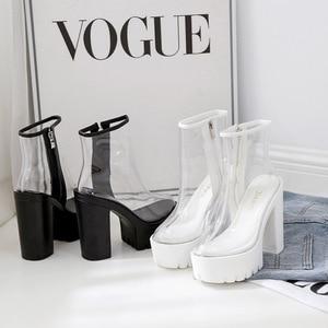 Image 3 - COWCOM bottes transparentes pour femmes, chaussures transparentes, talon épais, talons hauts et ronds étanches, semelle blanche, DF jz750 1