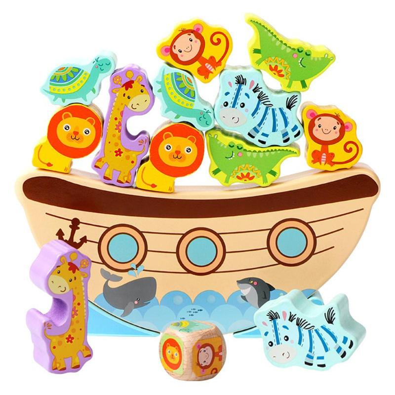 Educational Wood Boat Animal Stacking Balance Game Block Gift  Baby Toy Colorful Children DIY Toy Building Block Montessori Gift