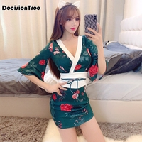 2019 kimono japanese kimono mujer yukata japan kimono dress with obi silk rayon sexy japanese women evening dress