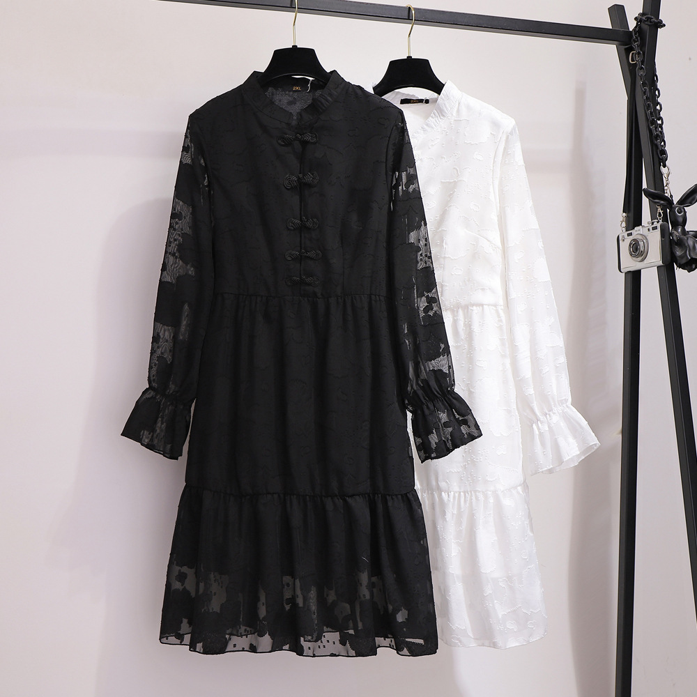 300 Extra Large WOMEN'S Dress Large GIRL'S 2019 Autumn Loose-Fit Slimming Embroided Dress Plus-sized A- Line Skirt