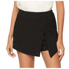 Pantalones cortos de las mujeres verano Casual pantalones cortos de cintura elástica parte delantera abierta falda Retro Casual verano Streetwear corto pantalones corto mujer # D