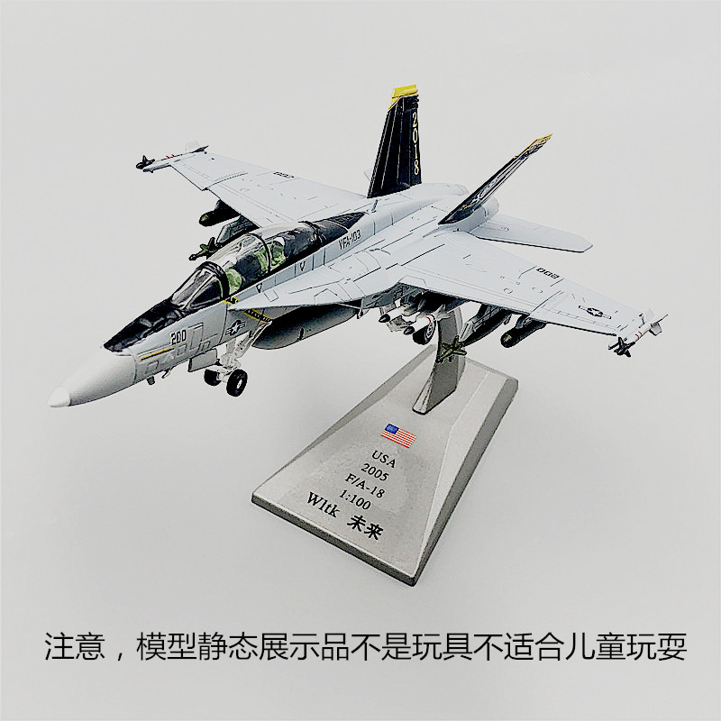 WLTK 1/100 Scale USA F/A-18 Hornet Multirole Fighter Diecast Metal Military Plane Model Toy For Gift,Collection