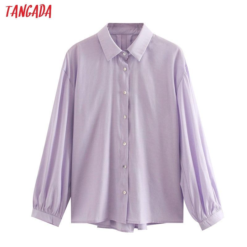 Tangada 2020 New Women Lavender Shirts Long Sleeve Solid Turn Down Collar Elegant Office Ladies Work Wear Blouses 3L47