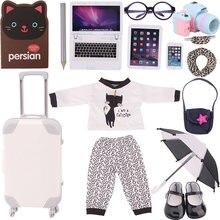 15 pièces Kitty chat thème costume pour américain 18 pouces fille poupée vêtements accessoires et 43 cm nouveau-né bébé articles et notre génération
