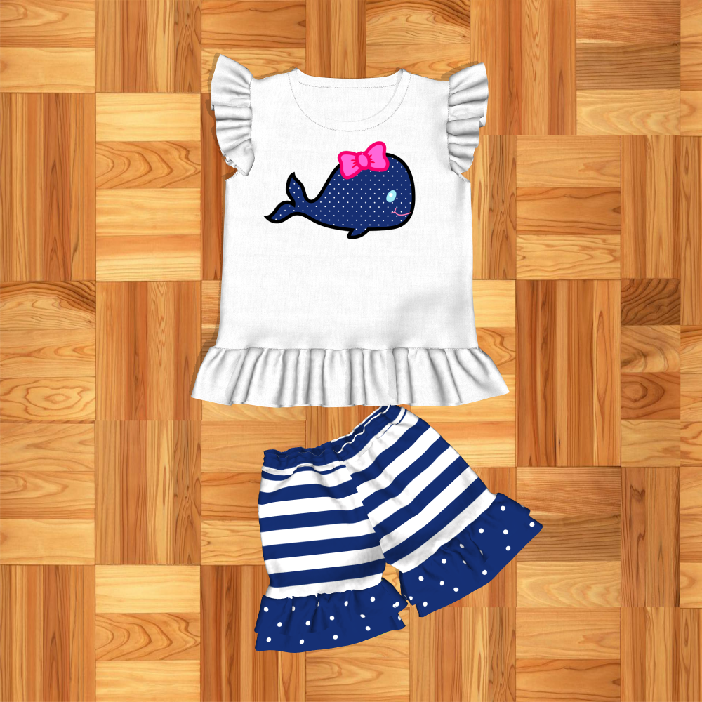 Summer Baby Girls Clothes 2PCS Whale T-shirt+Shorts Boutique Outfit Toddler 0-5Y