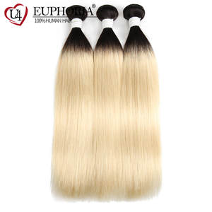 EUPHORIA Weave Bundles Weft-Extension Human-Hair Blonde Straight Ombre 1b 613 Remy Brazilian