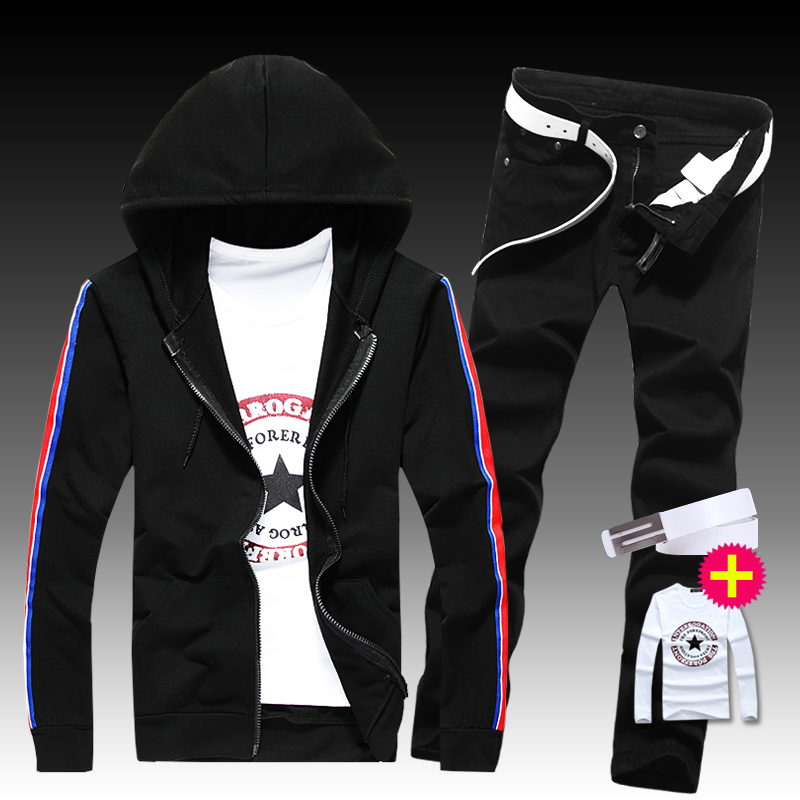 2 New Autumn Mens 2pcs Set Sweatshirt Hooded Long Sleeve Jacket Straight Pants Hoodie Trousers Casual For Male Clothing G58