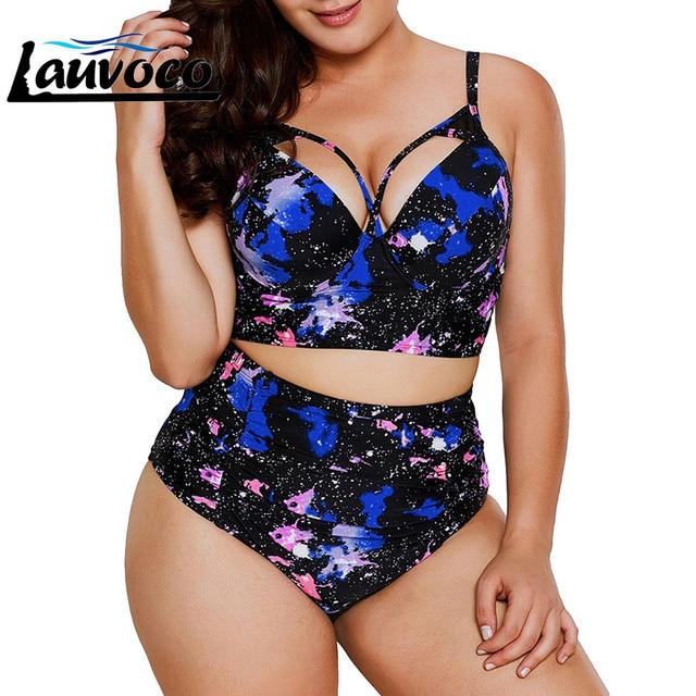 Floral Print Plus Size Women Bikini Set Cut Out Swimwear High Waist Swimsuit 5XL Fat Big Cup Two Piece Bikini Push Up Beachwear