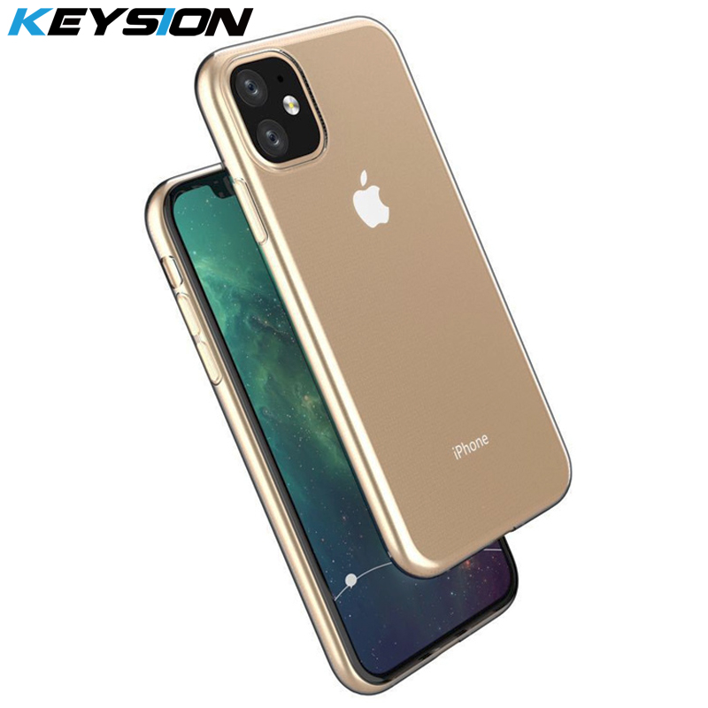 KEYSION Transparent Phone for iPhone 11 11 Pro Max Silicone TPU Soft Ultra thin Clear Back Cover for iPhone 11 Pro 2019 New i11 in Fitted Cases from Cellphones Telecommunications