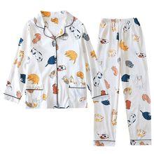 2020 Lente Dames Pyjama Set Cartoon Kat Katoen Verse Stijl Nachtkleding Set Vrouwen Turn Down Kraag Vrouwelijke Casual Homewear