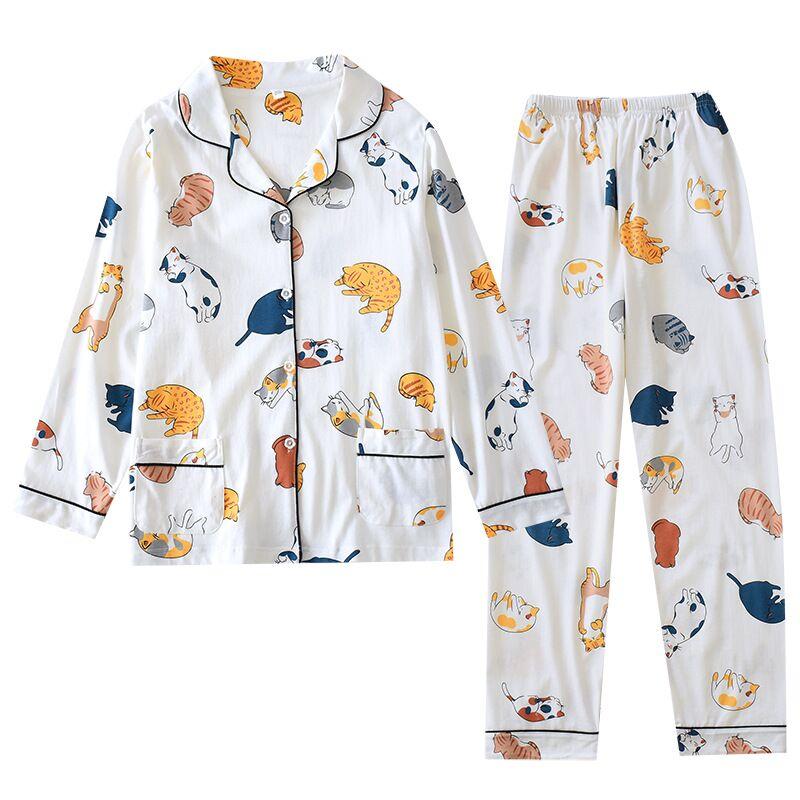 2020 Spring Ladies Pajamas Set Cartoon Cat Cotton Fresh Style Sleepwear Set Women Turn-down Collar Female Casual Homewear