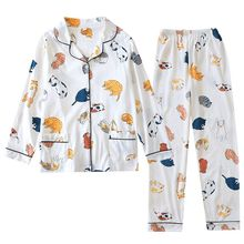 2020 Spring Ladies Pajamas Set Cartoon Cat Cotton Fresh Style Sleepwear Set Women Turn down Collar Female Casual Homewear