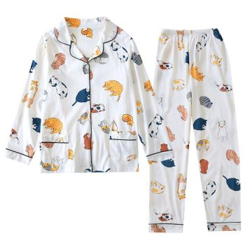 2020 Spring Ladies Pajamas Set Cartoon Cat Cotton Fresh Style Sleepwear Set Women Turn-down Collar Female Casual Homewear new spring autumn pajamas women s cotton jacquard ladies women s lolita pajamas set doll collar casual pajamas homewear