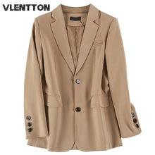 Женский винтажный пиджак с карманами однотонный Повседневный