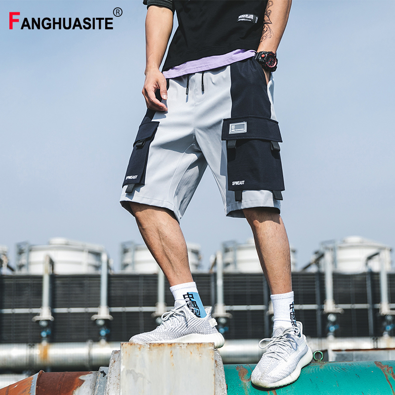 Men's Cargo Shorts Splice Big Pocket Solid Color Cotton Casual Shorts Elastic Waist Hip Hop Jogging Streetwear Shorts Men A939