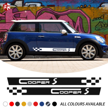 2 pièces voiture porte côté rayures autocollant course rayures corps décor vinyle décalque pour MINI Cooper S R50 R52 R53 One JCW accessoires