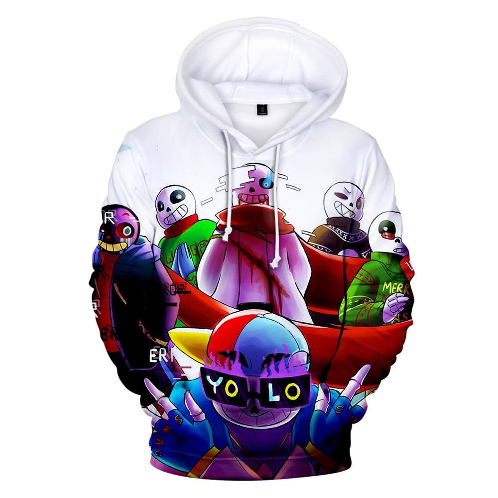 Undertale 3D Hoodie Men/Women Funny Kawaii Sweatshirt Cartoon Harajuku Style Hot Game 3D Hoodie Print Undertale Pullover Coats