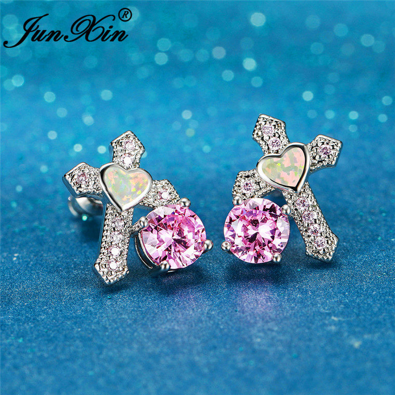 Original Lucky Cross Earrings Silver Color White Fire Opal Earring For Women Wedding Stud Earrings Pink Zircon Ear Jewelry