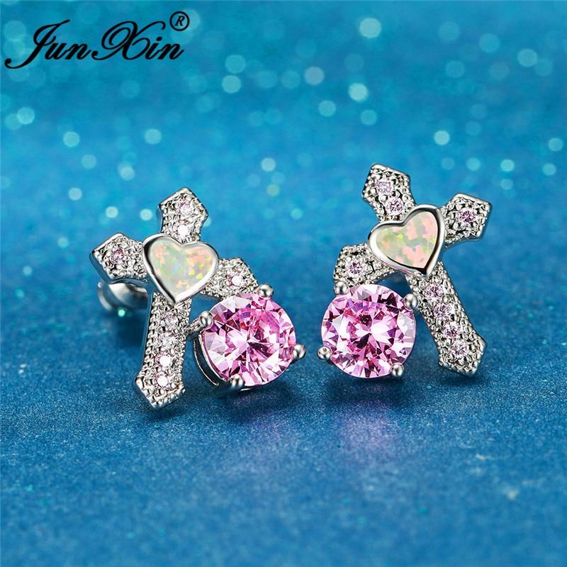 Original Lucky Cross Earrings Silver Color White Fire Opal Earring For Women Wedding Stud Earrings Pink Zircon Ear Jewelry