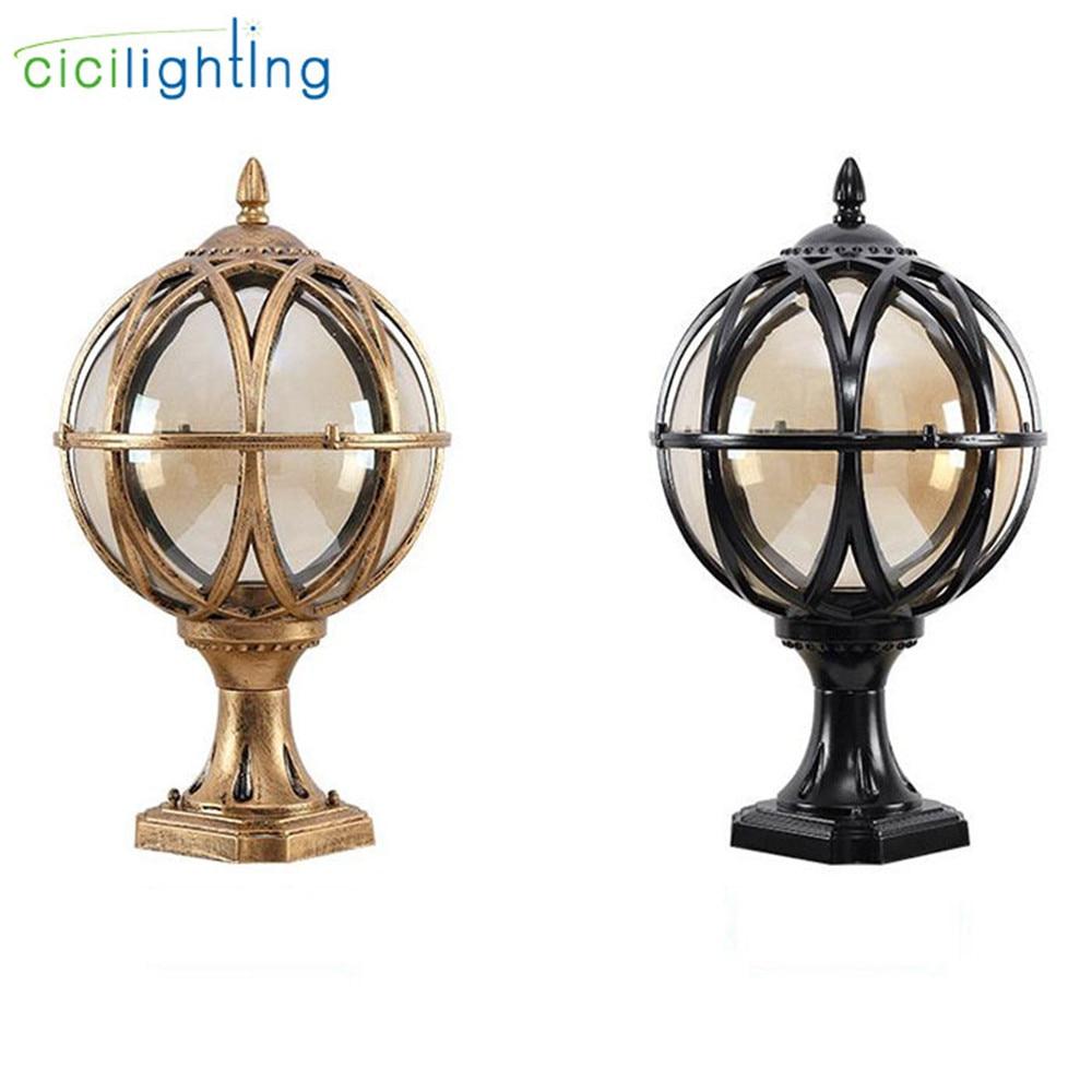 Vintage Outdoor Post Lantern, Black Rustic Exterior Post Light Fixtures,Globe glass shade pillar lamp for garden yard pathway