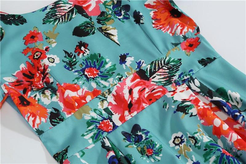 Summer Floral Print Elegant A-line Party Dress Women Slim White Short Sleeve Swing Pin up Vintage Dresses Plus Size Robe Femme 137