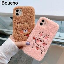 Funda de teléfono con bordado de oso conejo para iPhone, funda suave y cálida con pelo suave para iPhone 12 Mini Pro Max XS XR X 11Pro Max SE 6 S 7 8 Plus