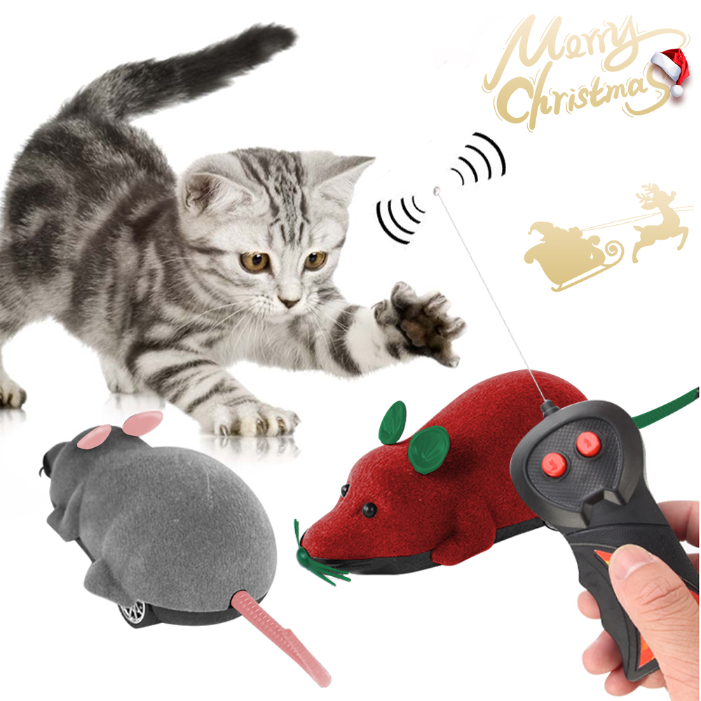 Christmas Pet Cat Toys Interactive Electric Mouse With Wireless Remote Control Mouse Toy Electronic Play Toy Holiday Kid Gifts