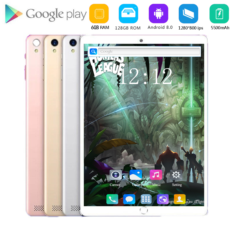 Tablet 10.1 Inch LTE 4G Phone Call Tablets Octa Core Android 8.0 Tablet Pc 6G+128G WiFi GPS Bluetooth Dual SIM IPS Screen 128GB