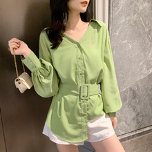 2020 Spring Summer Long Lantern Sleeve Asymmetrical Blouse Shirt Office Ladies V Neck Green Black White Korean Style Tops Blusas lantern sleeve tied neck blouse