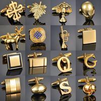 Qualité or couleur boutons de manchette lettres/Alien/carré/Dragon/feuilles d'érable/Balance/nom boutons de manchette pour hommes français bouton manchette