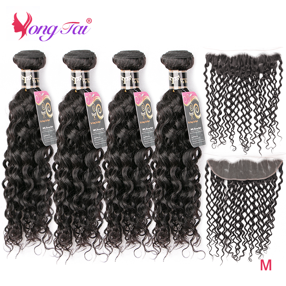 Yuyongtai Hair Brazilian Water Wave Bundles With Front Non-Remy Human Hair Ear To Ear Lace Front With Bundles Medium Ratio