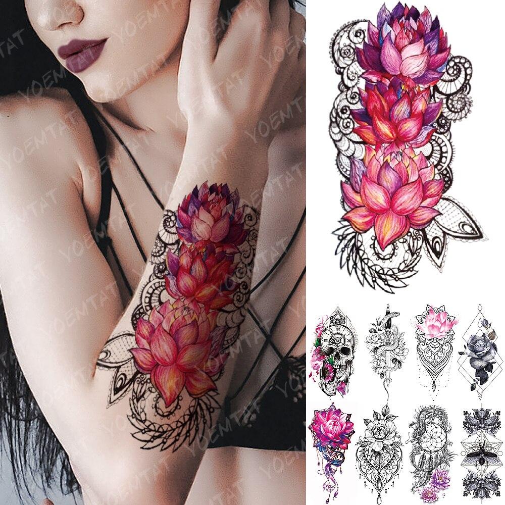 Waterproof Temporary Tattoo Sticker Pink Lotus Rose Lace Flowers Flash Tattoos Snake Dragon Body Art Arm Fake Tatoo Women Men