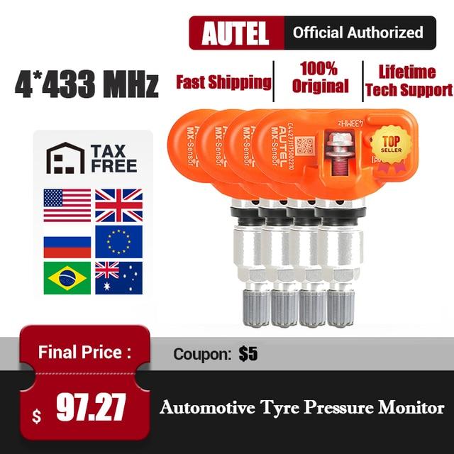 Autel MX Sensors 4PCS 433 MHz Autelเซนเซอร์ยางทางเทคนิคทำงานร่วมกับTPMS PAD TS401 TS601 100% Clone สามารถและความคุ้มครอง98%