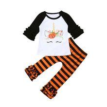 купить Halloween Cartoon Fox Pumpkin Floral stripe pants Kids Baby Girl Clothes Flare Long Sleeve T-shirt Tops Outfits Orange 1-6T дешево