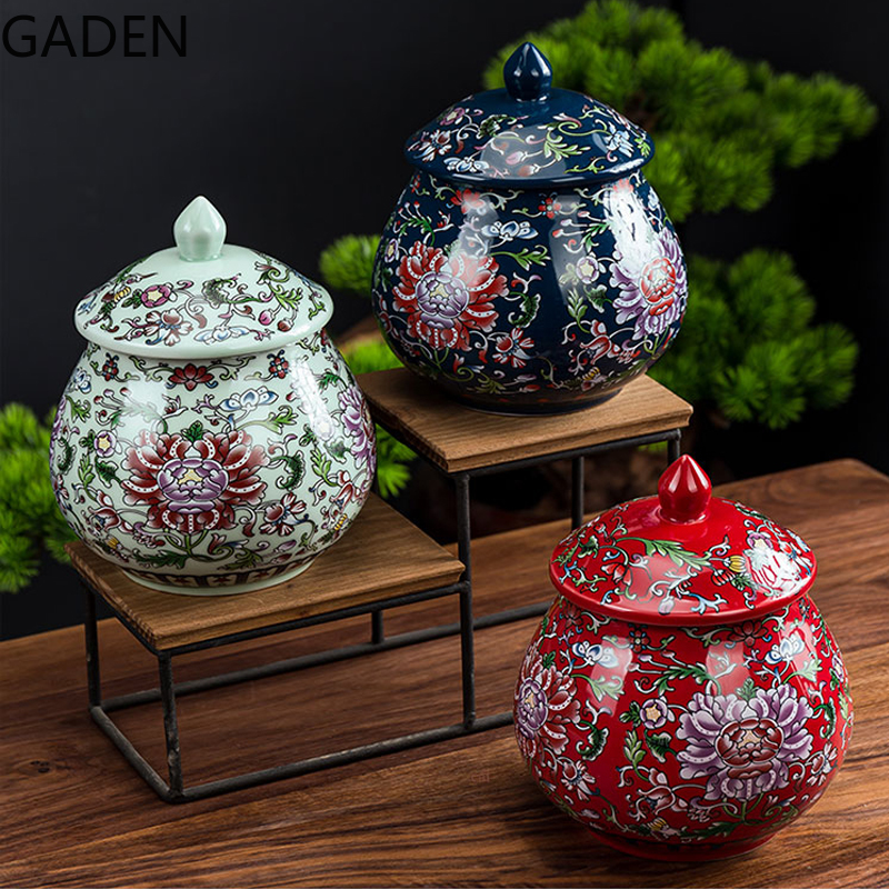 Blue and White Porcelain Airtight Jar Chinese Home Decoration Storage Tea Caddy Storage Box Living Room Coffee Table Accessories