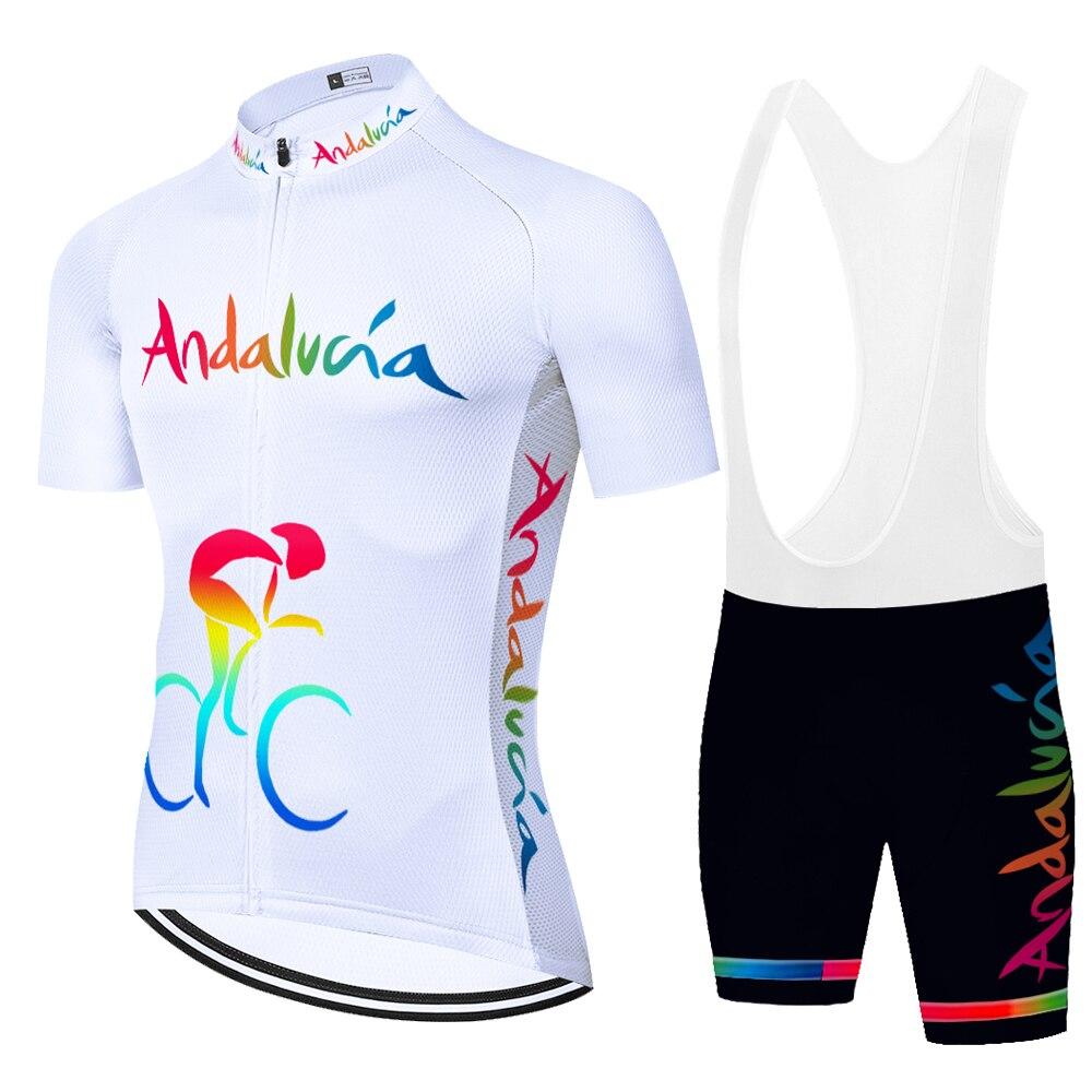 2021 espanha equipe andalucia roupas de ciclismo homem ciclismo terno 20d almofada gel verão secagem rápida manga curta maillot ciclismo