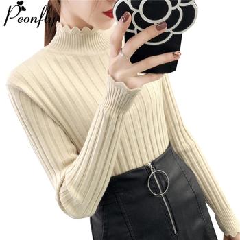 PEONFLY jesień zima kobiety swetry sweter z dzianiny elastyczność Casual Jumper miękkie podstawowe Slim ciepłe kobiet swetry Top tanie i dobre opinie polyester acrylic Poliester Z wełny Akrylowe Komputery dzianiny Pełna Stałe Golfem REGULAR Ruffles STANDARD Brak Na co dzień