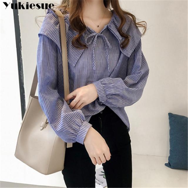 woman blouses long sleeve ruffless striped summer women's shirt blouse for women blusas womens tops and blouses chiffon shirts 3