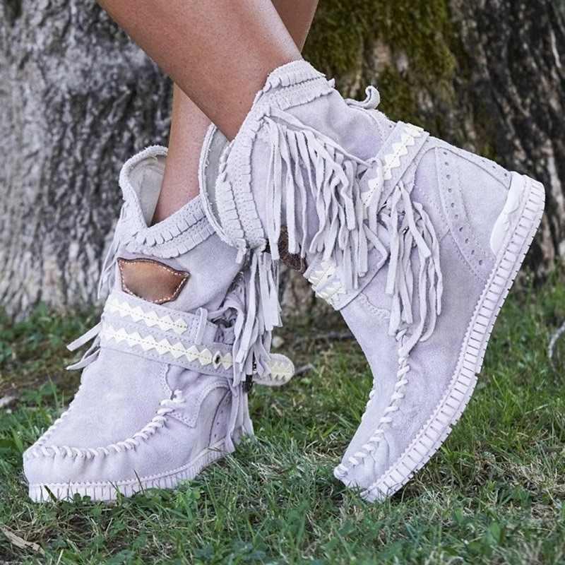 Dropshipping kadın ayak bileği kısa çizmeler püsküller yuvarlak ayak toka kayış botları etnik sıcak olmayan-kayma çizmeler ayakkabı bayanlar için Botas mujer