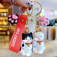 Cute Lucky cat key chain women Cartoon cat Bag keychains Bell pendant trinket car key ring Chef burger bag charm