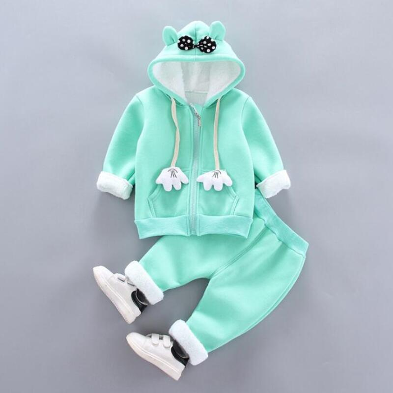 Thick Warm Girls Clothing Set Winter Plush Cotton Outfit For Baby Hoodies Jacket Pants Kids Casual Suit Toddler Boy Wearing 4