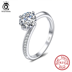 ORSA JEWELS Luxury 925 Silver Wedding Rings Solitaire AAAA Cubic Zirconia Round Cut Genuine Rings Engagement Party Jewelry SR152