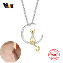 Vnox Authentic 100% 925 Sterling Silver Cat Meditation in Moon Necklace for Women Girl Lovely Animal Pet Choker Gift Jewelry(China)