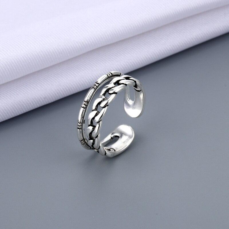 Панк древних серебристый цвет открыт кольца для мужчин и женщин в винтажном стиле стекируемые ссылка витой кольцо модное ювелирное изделие...