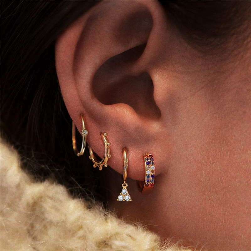 Yobest 2020 New Fashion Geometric Crystal Stud Earrings Set Gold Color Earrings for Women Jewelry Accessories
