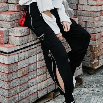 Streetwear Black High Waist Cargo Pants Women Plus Size Joggers Loose Funny Punk Pants Casual Trousers Korean Pants Harajuku women high waist loose joggers drawstring streetwear cargo pants solid big pocket causal pants punk trousers