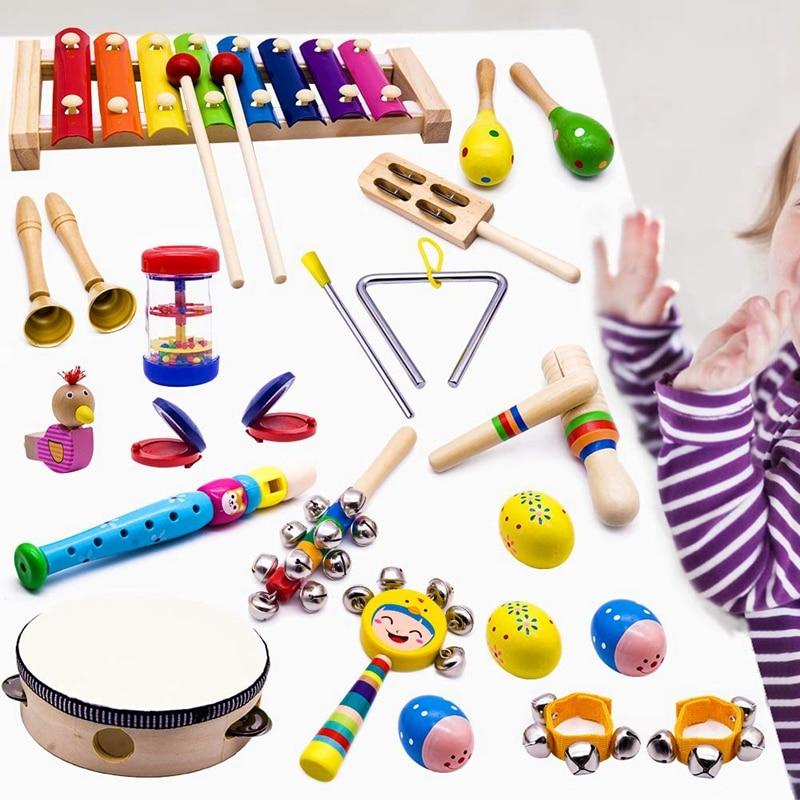 Image 3 - Детские музыкальные инструменты, 15 видов 23 шт. деревянные ударные ксилофон игрушки для мальчиков и девочек дошкольного образования с хранения обратноБубен    АлиЭкспресс