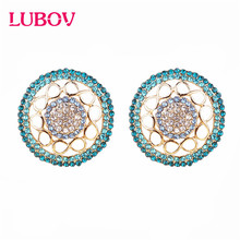 LUBOV New Micro Wax Rose Gold Natural Zircon Inlay Hollow Stud Earrings Women Luxury Wedding Party christmas Gift